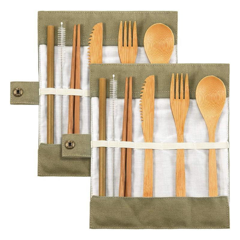 Eco-Friendly Portable Bamboo Utensils Travel Cutlery Set With Cotton Pouch
