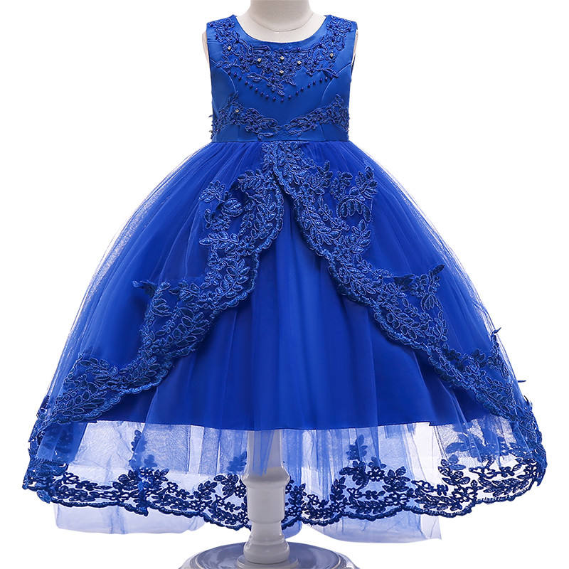 Plus Size Ball Gowns Embroidery Lace Princess Formal Children Sleeveless Formal Girls Fluffy Long Party Wedding Evening Dress