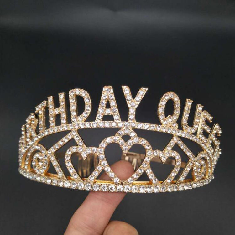 Gold Alloy Rhinestone Girl Birthday Queen Crown Birthday Tiara for Happy Birthday Party Supplies