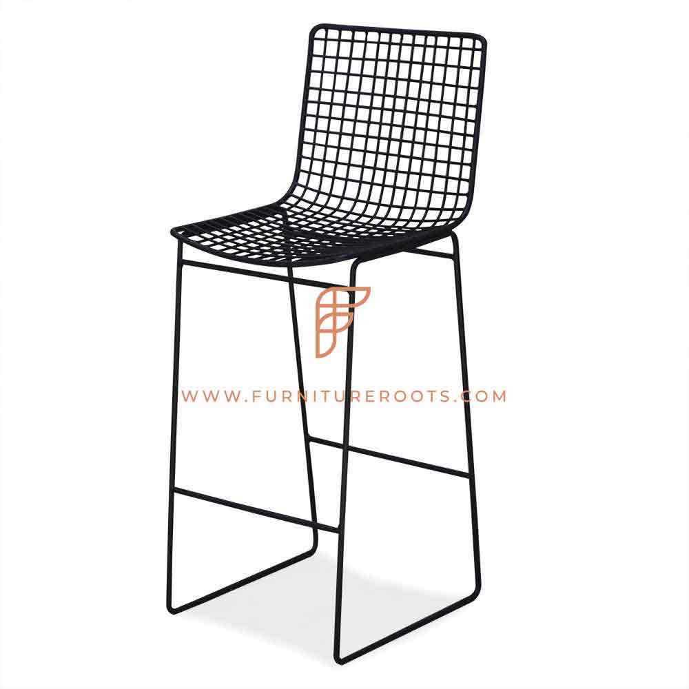 Metal Mesh Industrial Long Bar Chair Indian Restaurant Furniture