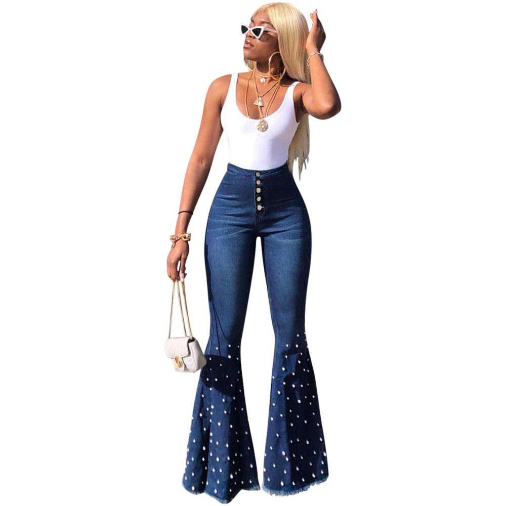 Buy wholesale 1688 agent plus size ladies high waist high elastic flare jeans with sequin