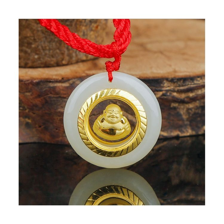 Unique Chinese Hetian White Jade 24k Gold Jade Laughing Buddha Necklace For Women