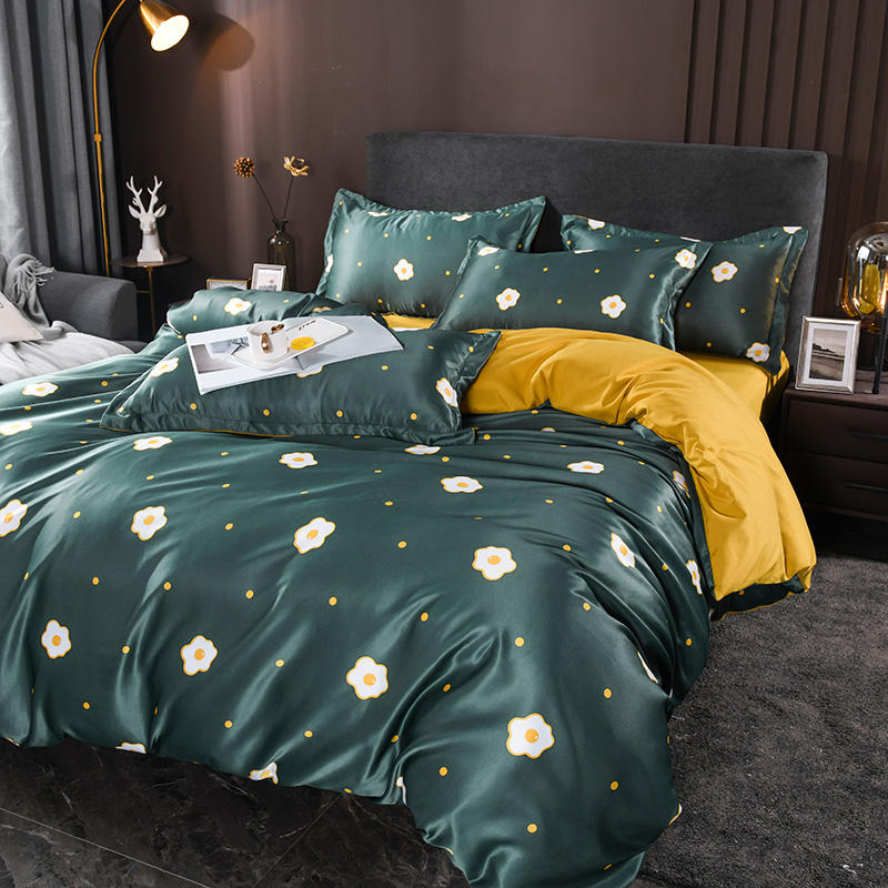 2020 summer hot selling 4 PCS extravagant washed silk bed sets pillow case duvet cover bed sheet summer bedding set