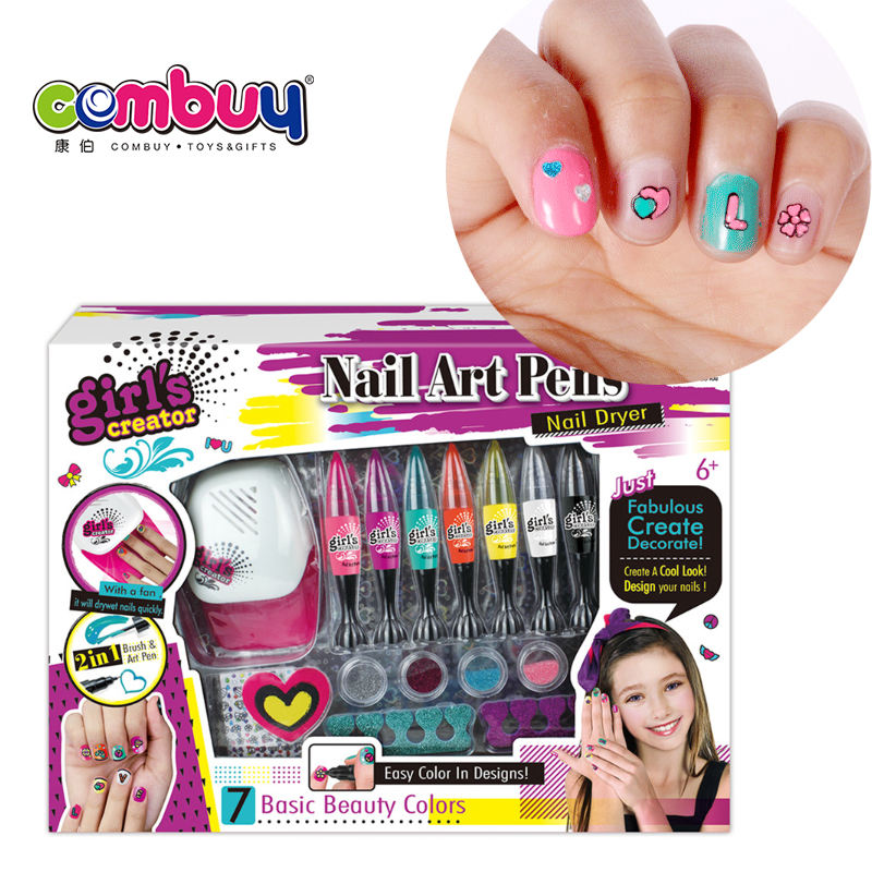 Gift Beauty Diy Meisjes Art Pennen Kids Nagellak Set Met Droger