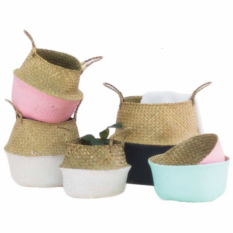 Best selling woven belly different colors seagrass laundry basket