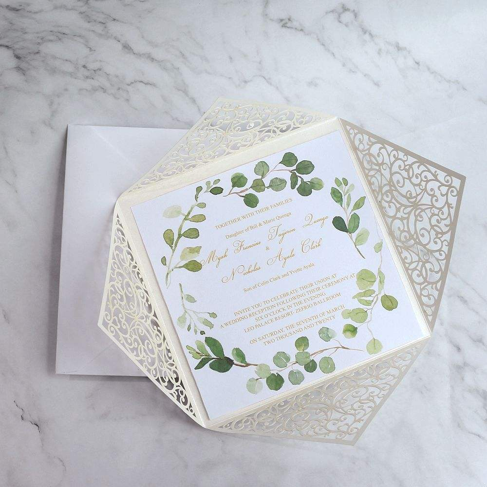 15*15cm Square Shape Laser Cut Card Suite with Watercolor Printing Wedding Invitation Card and Envelope