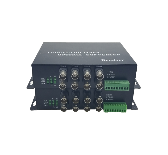 8 Channel CCTV 1080p lossless Video HDCVI/TVI/AHD/CVBS fiber converter support plug and play ,20KM