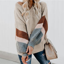 Wholesale Women Best Quality 2019 New Design Ladies Loose V-neck Striped Puff Sleeve Pullover Sweater