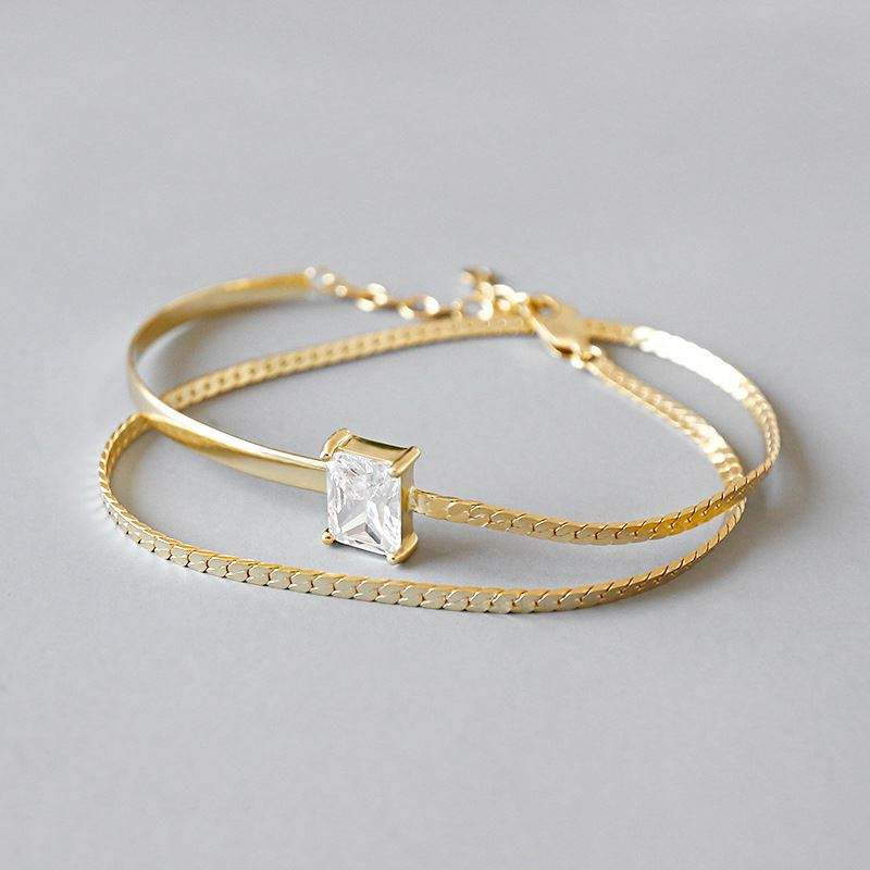 JD Jewelry Custom Wedding bride bangle double layer 18Kgold square cz stone paved 925 sterling silver bracelet