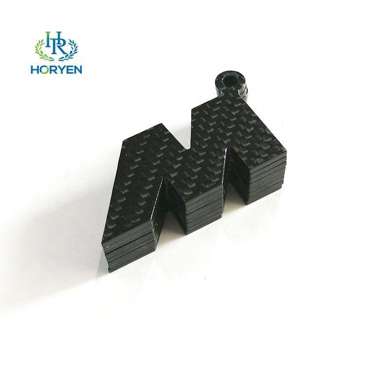OEM carbon fiber cnc cutting sheet custom logo pendant