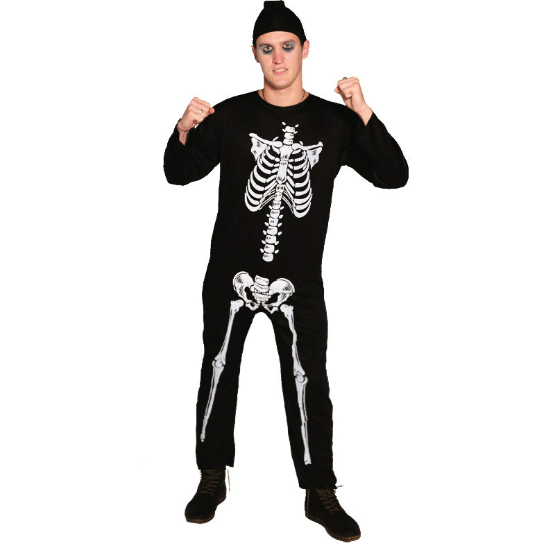 Halloween Party Skull Printed Body Suit Adult Cosplay Black and White Skeleton Jumpsuit with Black Hood