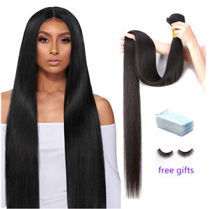 Grade 9A 10A 12A unprocessed Brazilian virgin straight human hair, no tangle no shed cuticle aligned hair bundles with closure