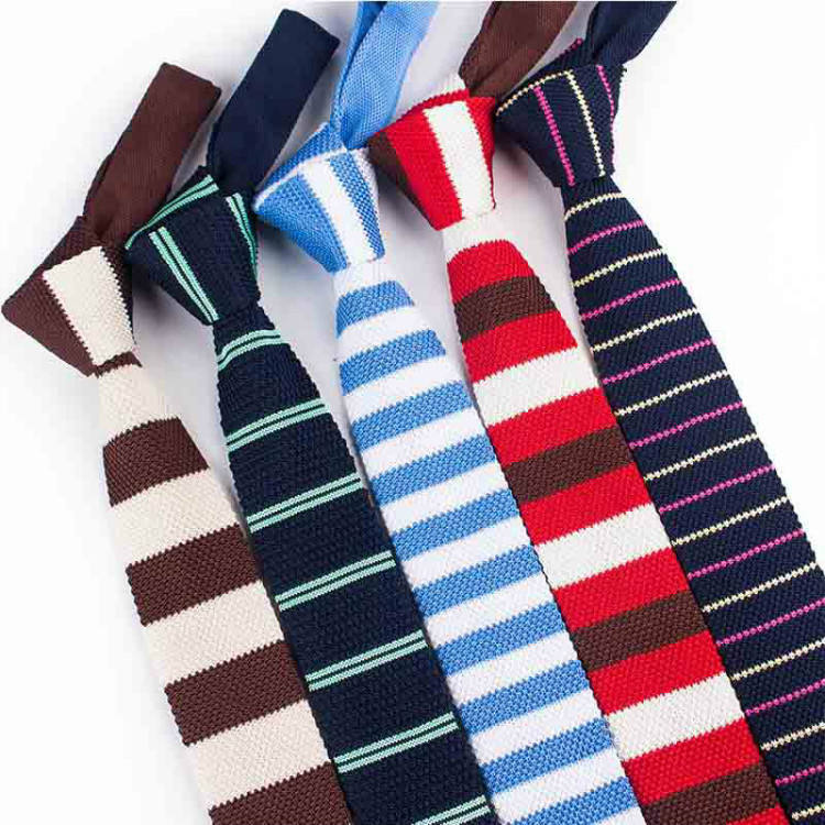 Wholesale Striped Knitting Necktie Polyester Made 5.5cm Flat Fashion Skinny Ties For Men