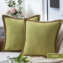 Wholesale Burlap Linen Cushion Cover Trimmed Tailored Edges Green Farmhouse Decorative Throw Pillow Covers
