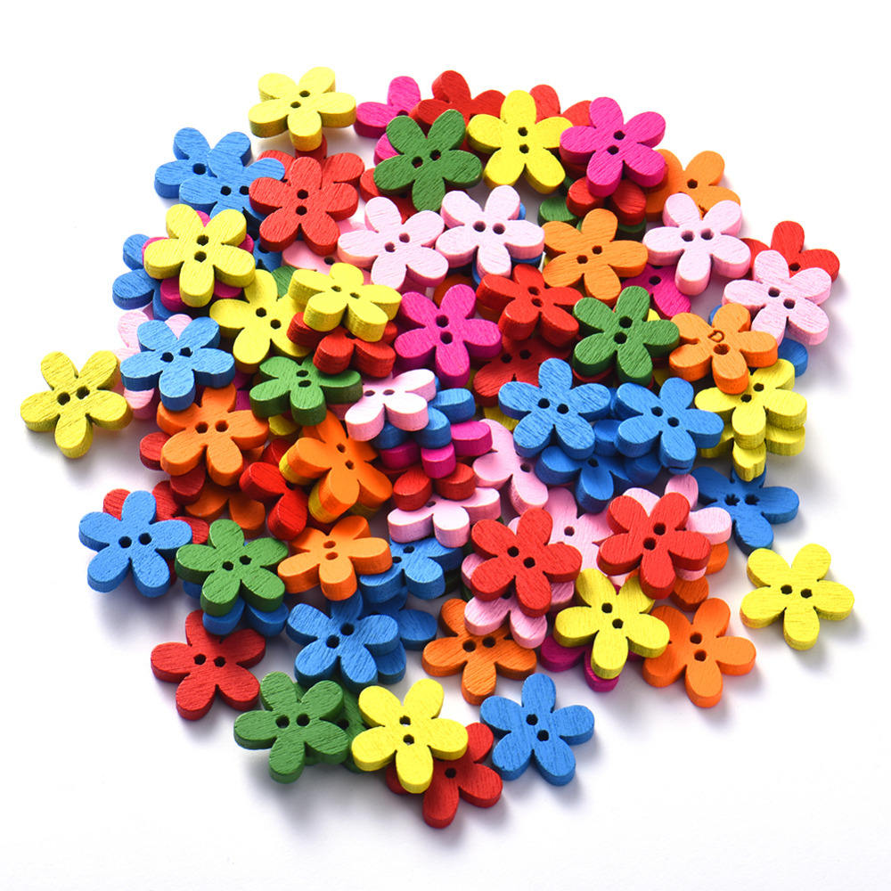 Trendy Multicolor 100Pcs/Lot 2 Holes Mixed Flowers Wooden Decorative Buttons Fit Sewing Scrapbooking Crafts 15*15mm