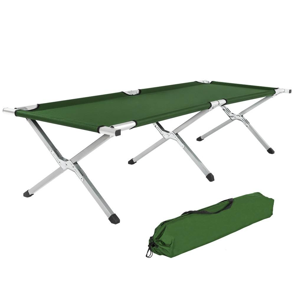 Extended outdoor foldable Aluminum army Green cot single folding bed Folding Camping hot sale beds