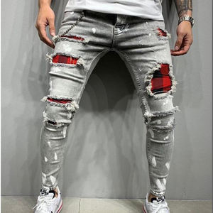 Europe and the United States skinny pants badge jeans men Trendy knee hole biker jeans low cheap price man jeans Denim