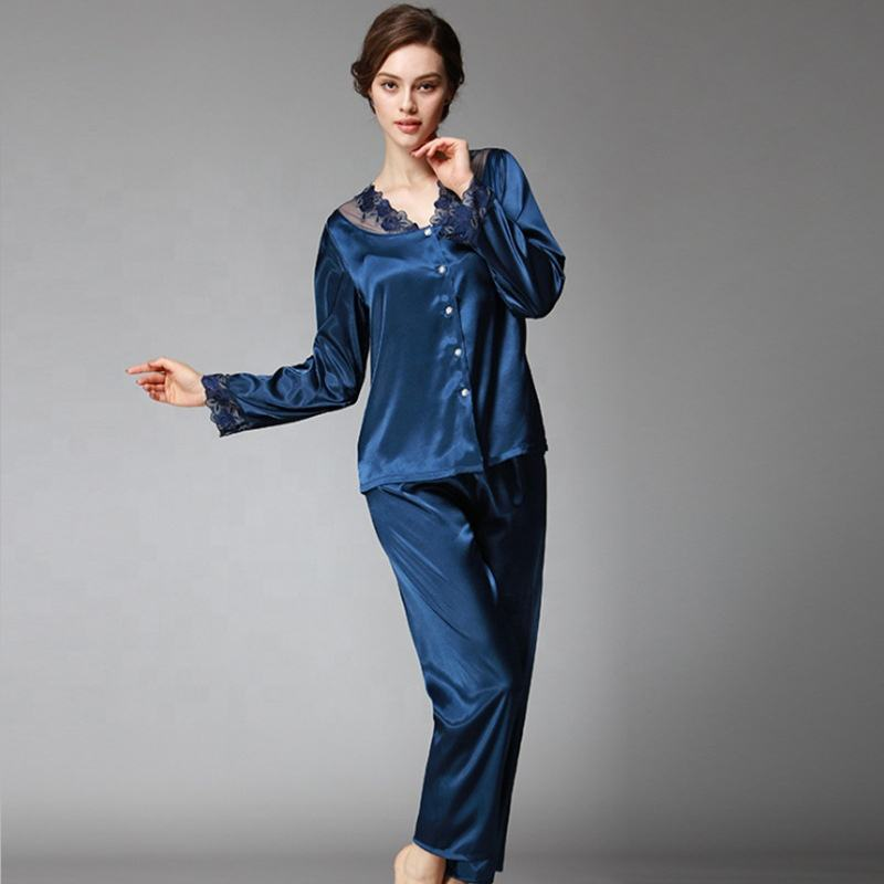 Wholesale Long Sleeve Satin Night Suits Silk Two Piece Sleepwear Lace Pijamas Set for Ladies