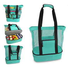 Handbag shoulder grid double-layer insulation picnic lunch bag cooler bag for travel beach use