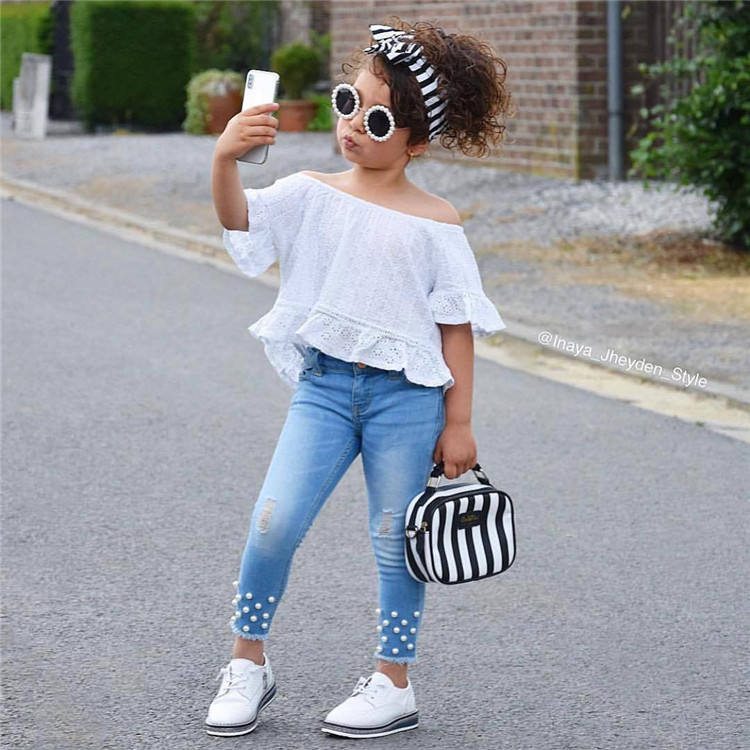 Girls Clothes 2020 Girls Kids Clothes Suit Children Clothes white ruffle lace Tops+ Pearl jeans Girls Clothing Sets