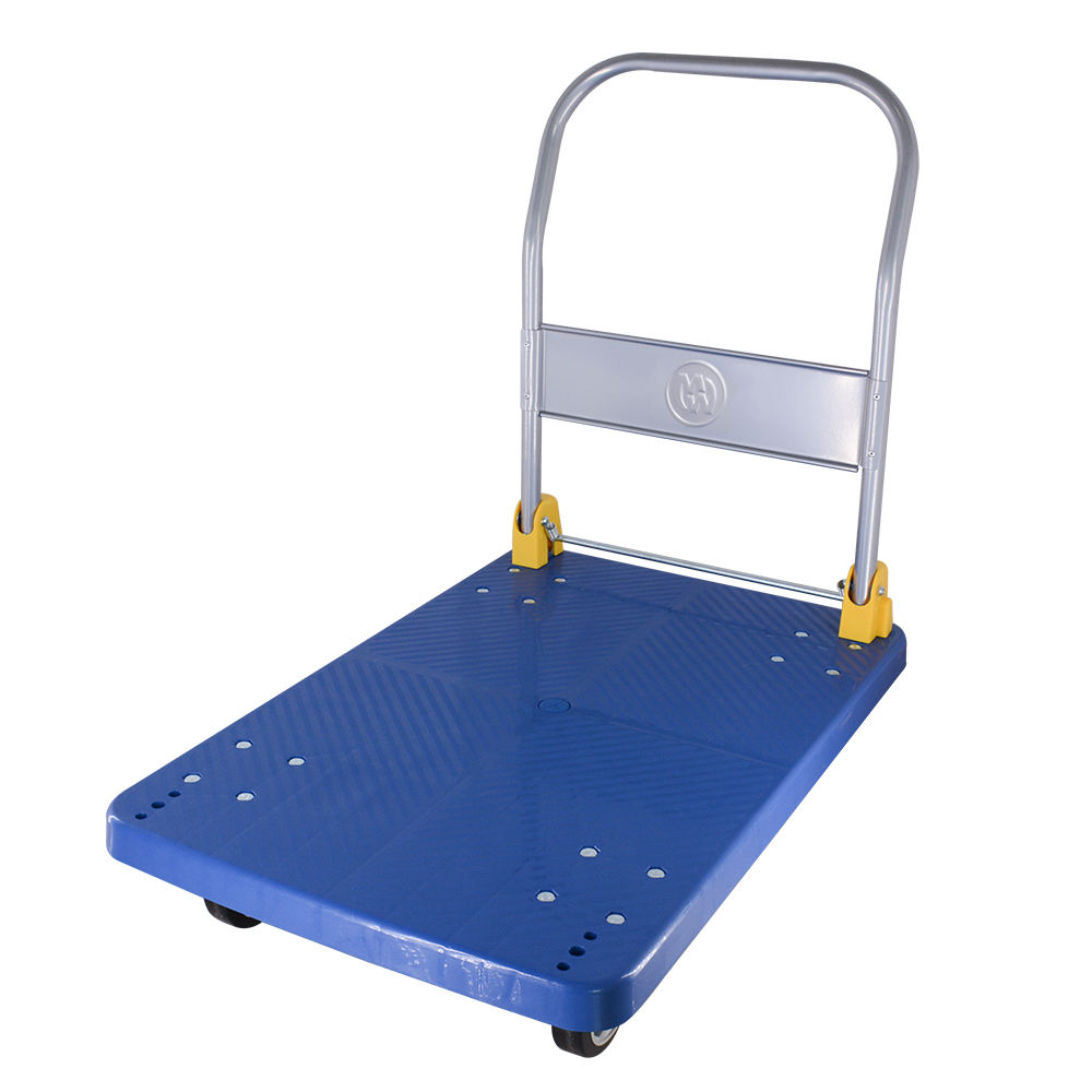 Updated version 400kg Four Wheels Plastic Shopping Foldable Hand Truck/Cart Platform Trolley for Warehouse