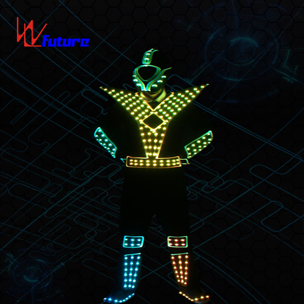 WL-0176 LED Dance Robot Costume LED Robot Costumes mens Armour clothing wireless control Future Light LED Costumes LED Suits