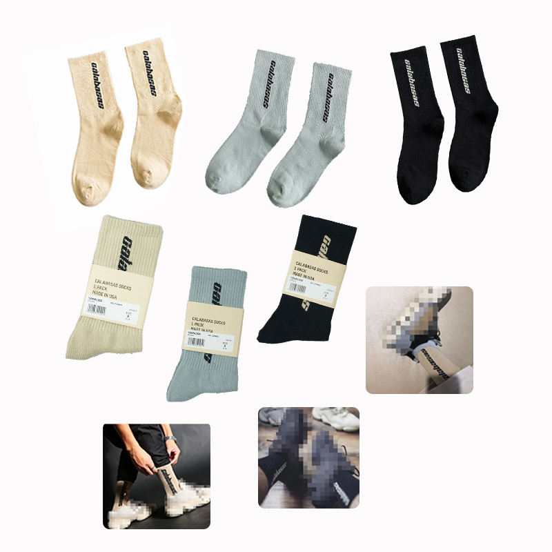 RTS YEEZY SEASON 6 CALABASAS hip-hop Kanye West unisex sneakers socks long tube high street crew fashion men socks
