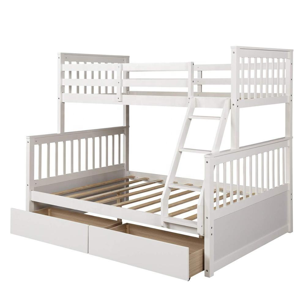 Wood Bunkbeds, Twin Over Full Bunk Bed with 2 Storage Drawers, Twin Cot with Ladder and Safety Rails Convenience