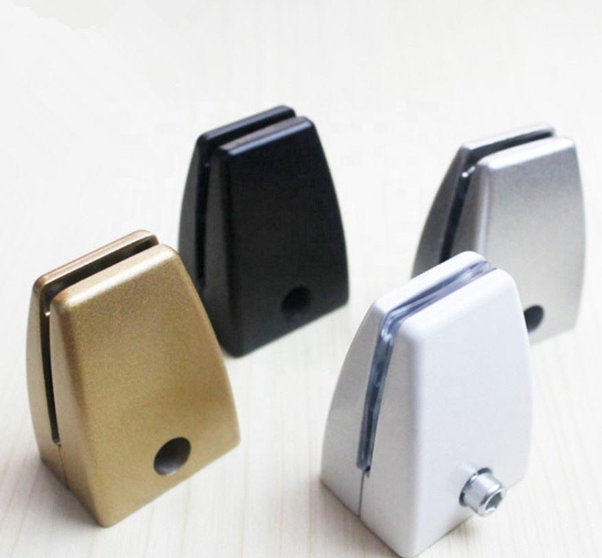 Furniture Accessories Aluminium Alloy Office Desk White Glass Table Clips Holder Screen Clamp