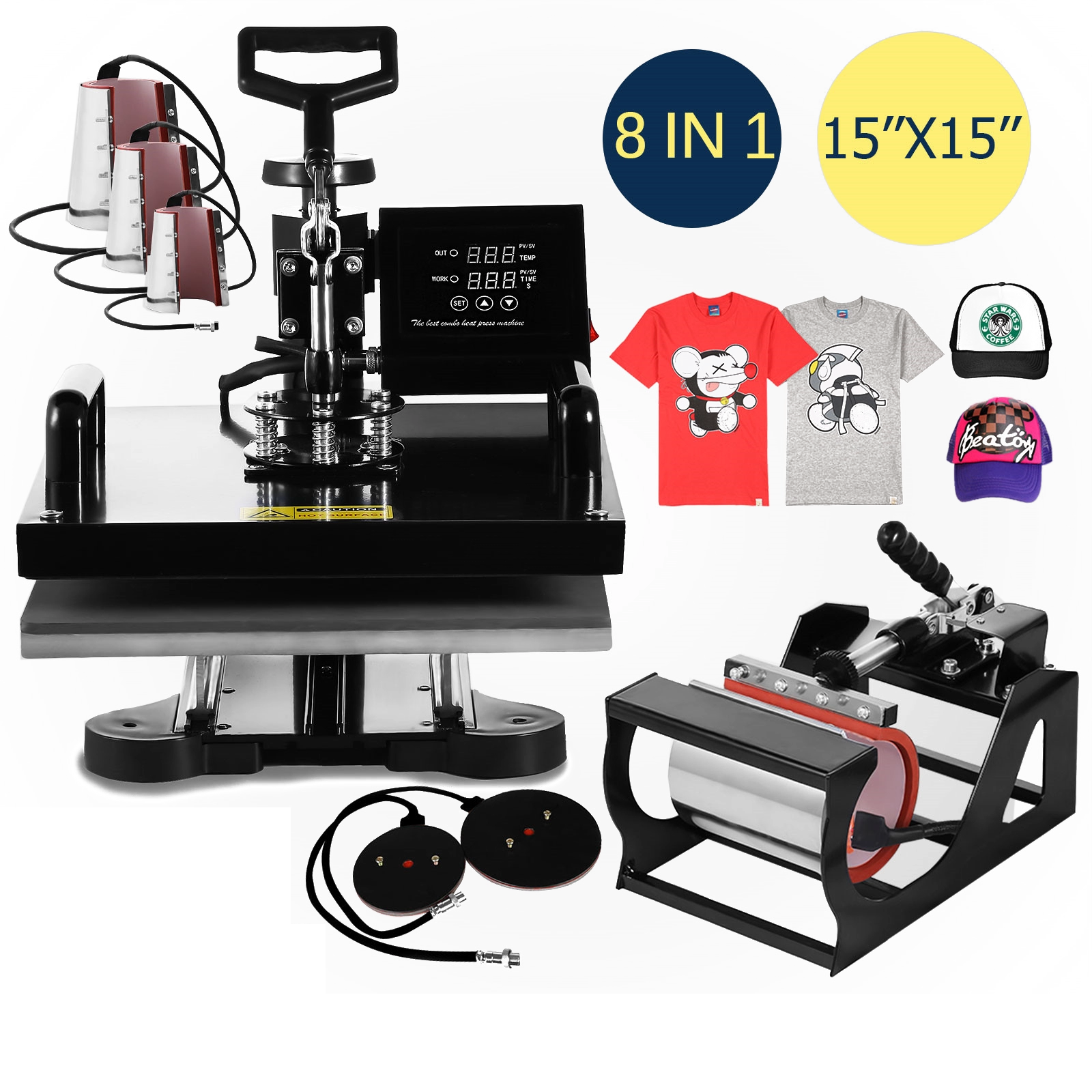 Mesin Tekan Transfer Sublimasi Multifungsi 8 In 1 3d Mesin Press Panas untuk T-shirt Mug Hat Cap