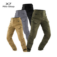 IX7 Men's  Waterproof Rib Stop Military Tactical Pants  Army Fans Combat Pant Hiking Hunting Multi Pockets Cargo Worker Pant
