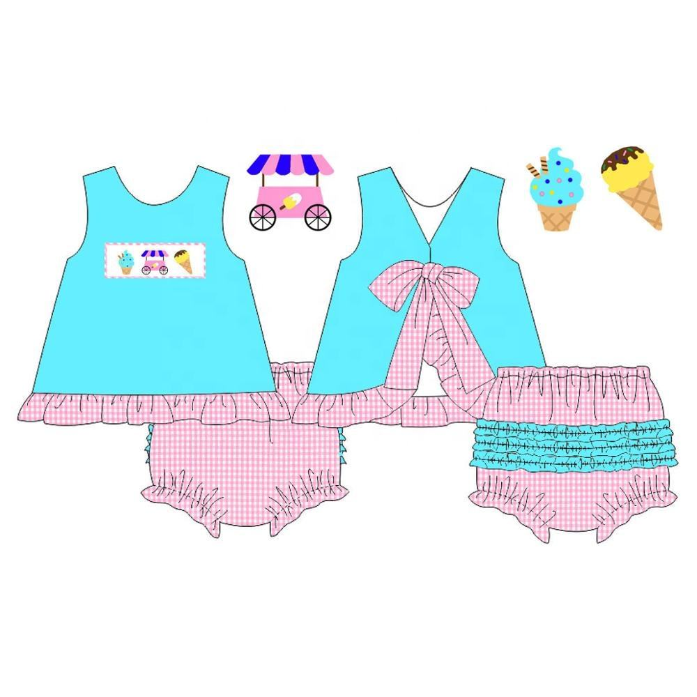 Vichy rosa helado Smocked niña Bloomer Set