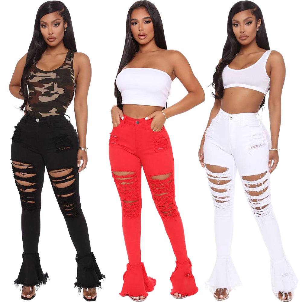 2020 New Women's 3 Color Plus Size Denim Flared Jeans Ripped Ruffled With Tassel Ladies Pants