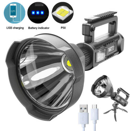 10W Super Bright Spot Lights Torch 4 Modes Flashlight Work Lamp USB Rechargeable XHP70 / XHP50 LED Searchlight with Tripod