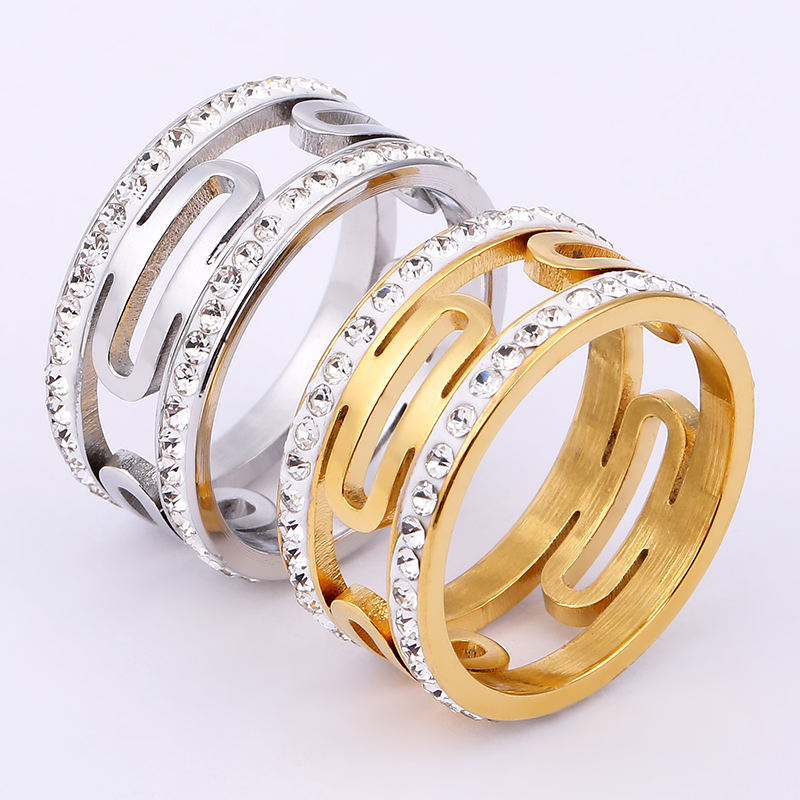 Best selling geometric pattern stainless steel jewelry with diamond titanium steel ring