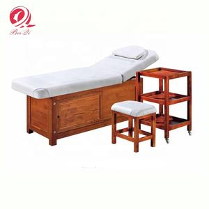 Luxury beauty salon furniture portable wooden spa facial bed massage bed table with cabinet for salon