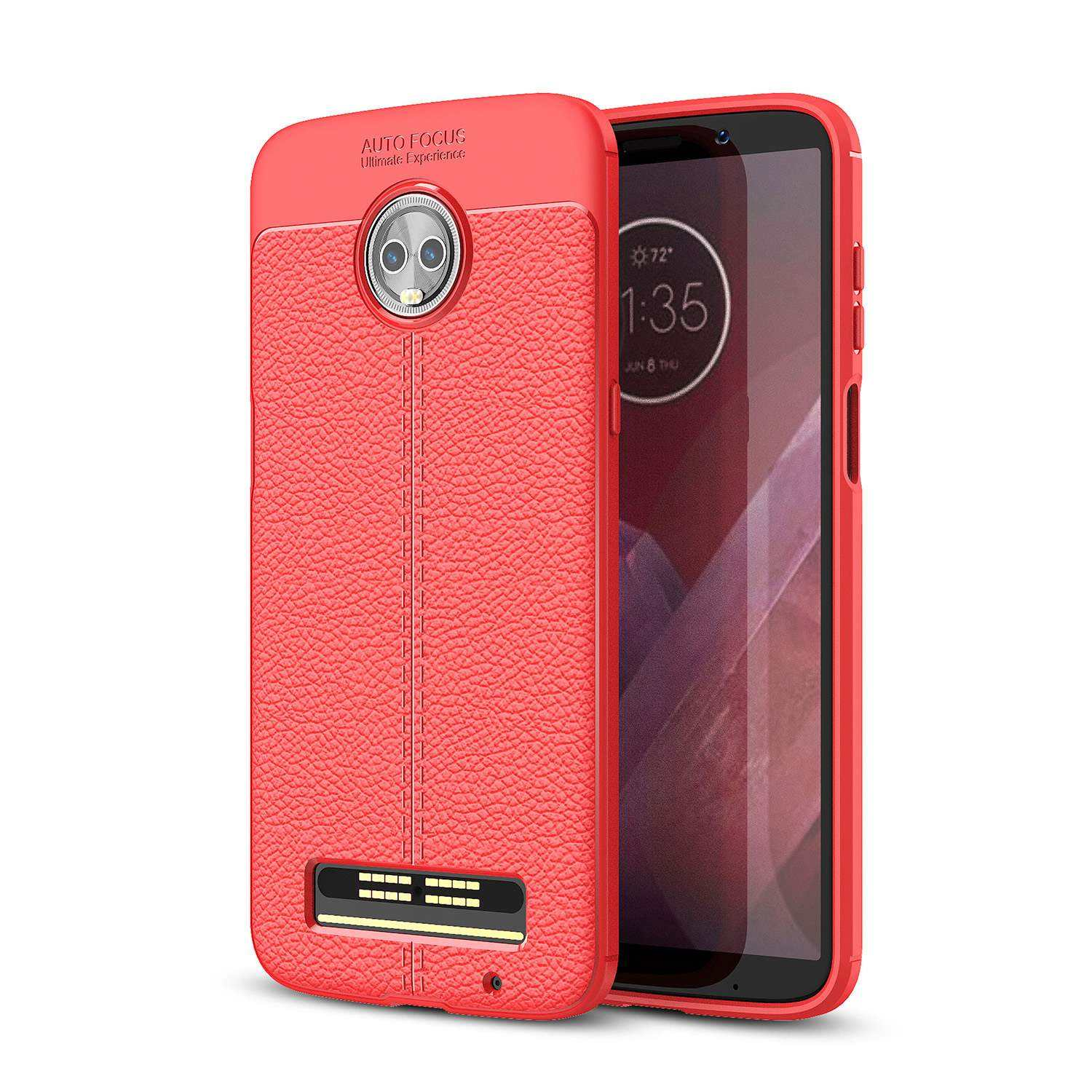 Factory Price 2020 Ultra Thin Litchi Leather Pattern Soft TPU Smartphone Case For Moto Z3 Play Phone Cover
