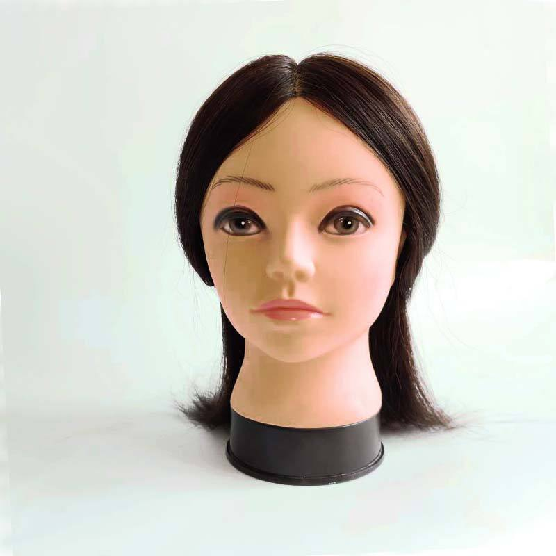 Salon Practice Hairdressing Head Training With 100% Human Hair Mannequin Training Head Can Be Bleach And Dye