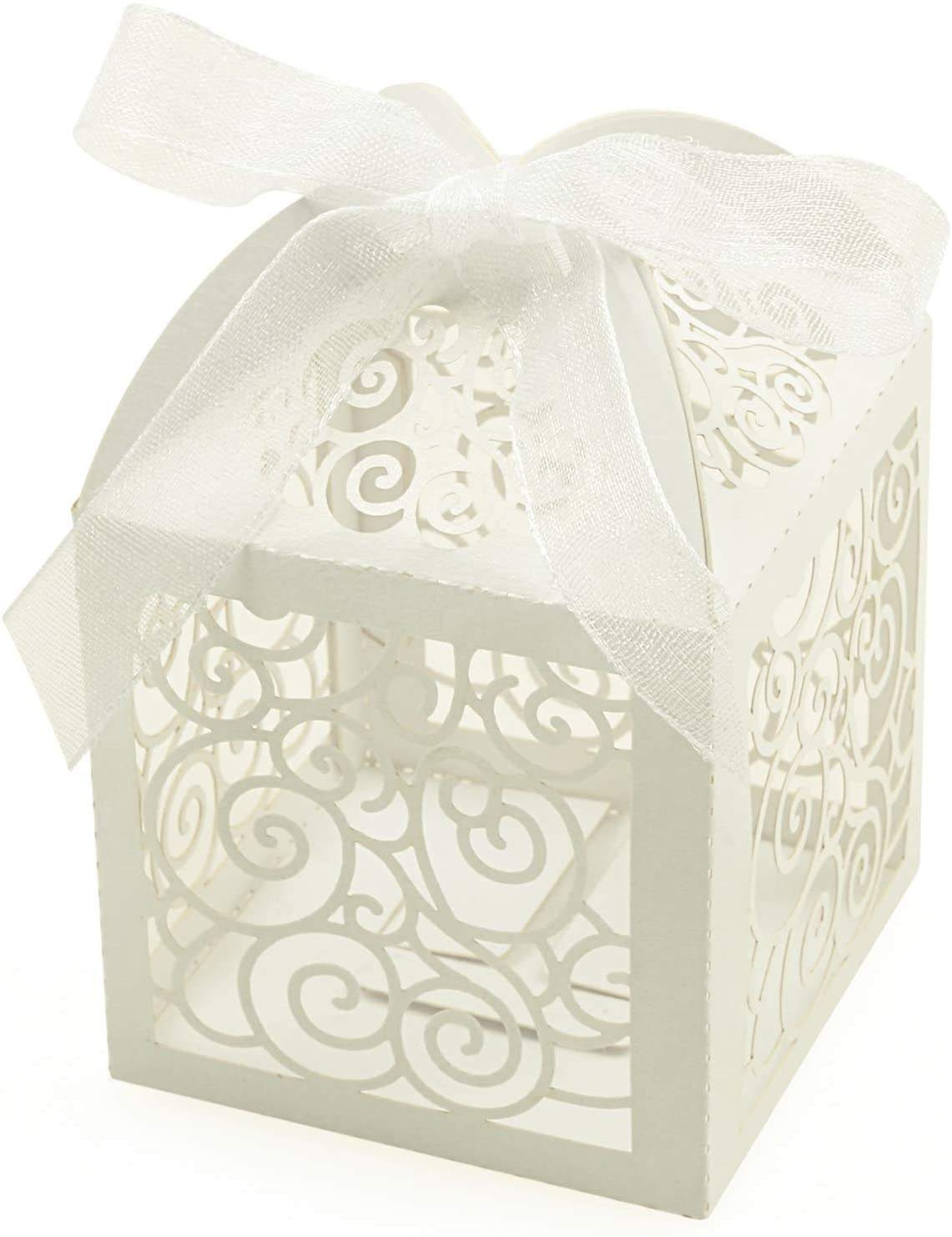 Manufacturer Laser Cut Rose Candy Boxes White Favor Boxes Gift Boxes for Bridal Shower Anniverary Birthday Party Favor