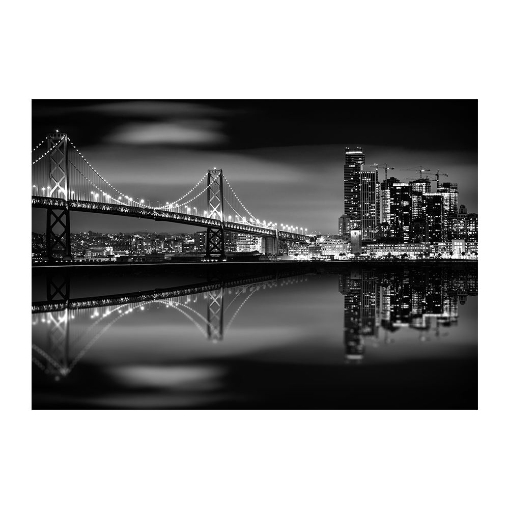 San Francisco Bay Bridge Night Black White Canvas Print Wall Art