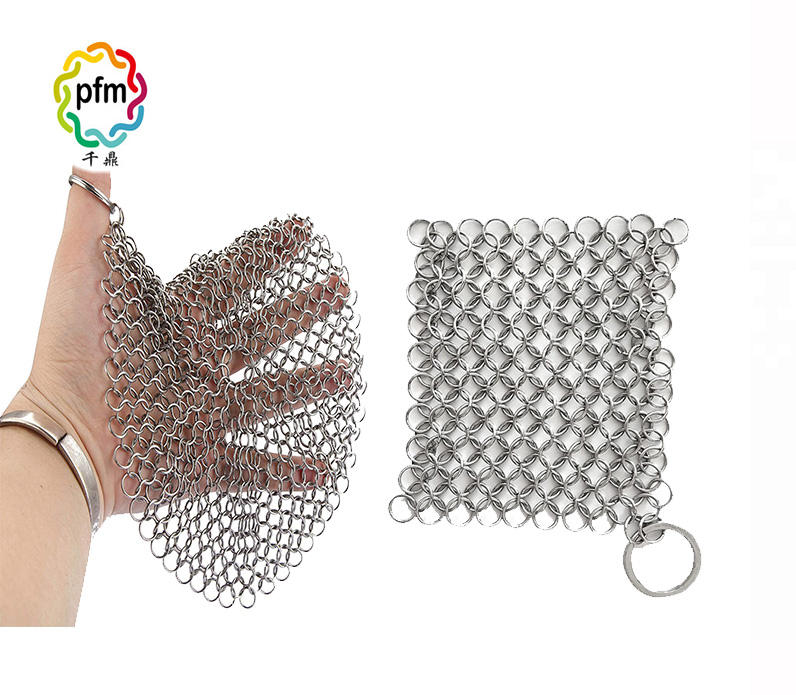 Kitchen cleaning stainless steel chainmail scrubber / cast iron cleaner