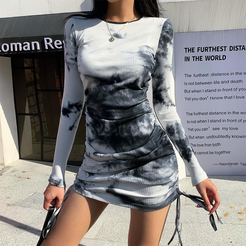2020 autumn winter new design women black tie dye sweater dresses