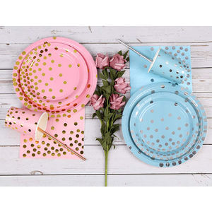 China wholesale Bronzing series healthy eco-friendly paper plate, cup, napkin suit