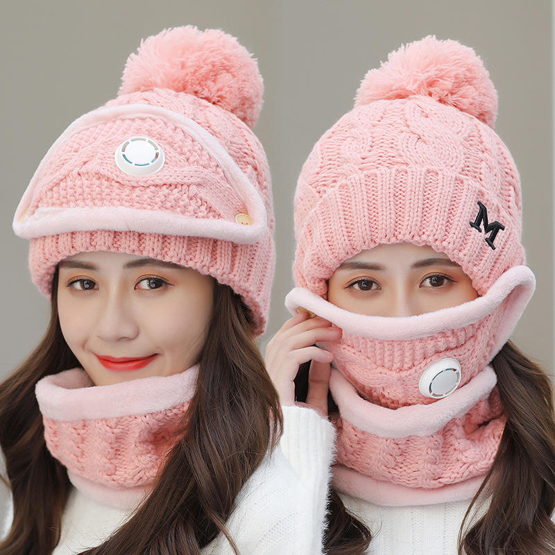 2020 new fashion unisex scarf and hat set knitted hat and scarf set for women plush beanie hat scarf set winter accessories