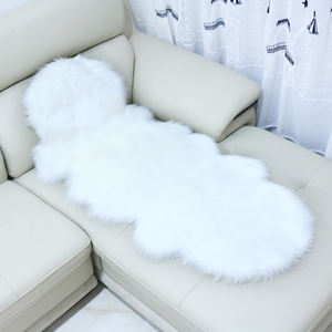 White Faux Fur Rug Long sheepskin Soft Fluffy Gray carpet Flokati Shaggy Style Assorted Rectangular Area Rug For Living Room