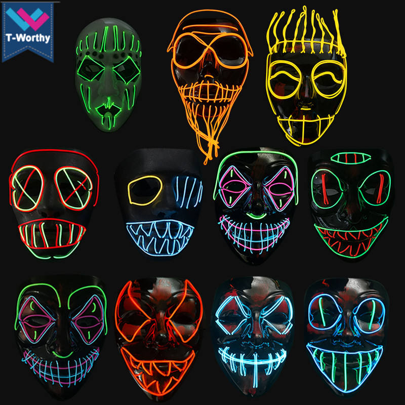 Hot Sell Halloween Carnival Party Rave Masquerade EL Mask Led Light Up Luminous Neon El Wire Mask In Stock