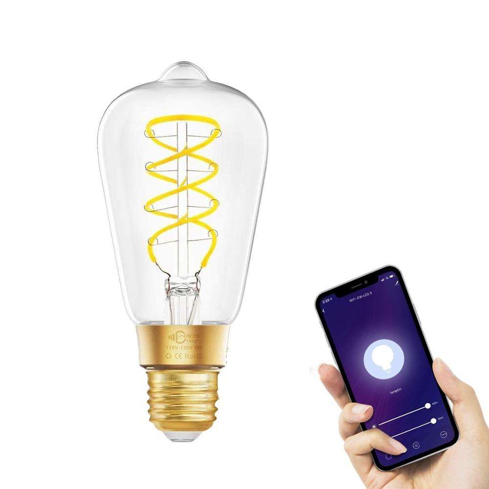 Wifi Tuya Smart 8W 2700K Dimmable Led Edison Lamp ST64 Antique LED Filament Light Bulb Work with Alexa and Google Assistant