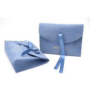 Free sample Custom logo printed small envelope wedding gift perfume pouch luxury bow-knot Suede Jewelry bag with flap