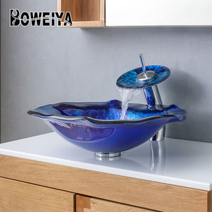 Boweiya Factory Cheap Price Coloring Cabinet Countertop Luxury Hand Wash Bathroom Glass Basin Unit Vessel Sink for Hotel