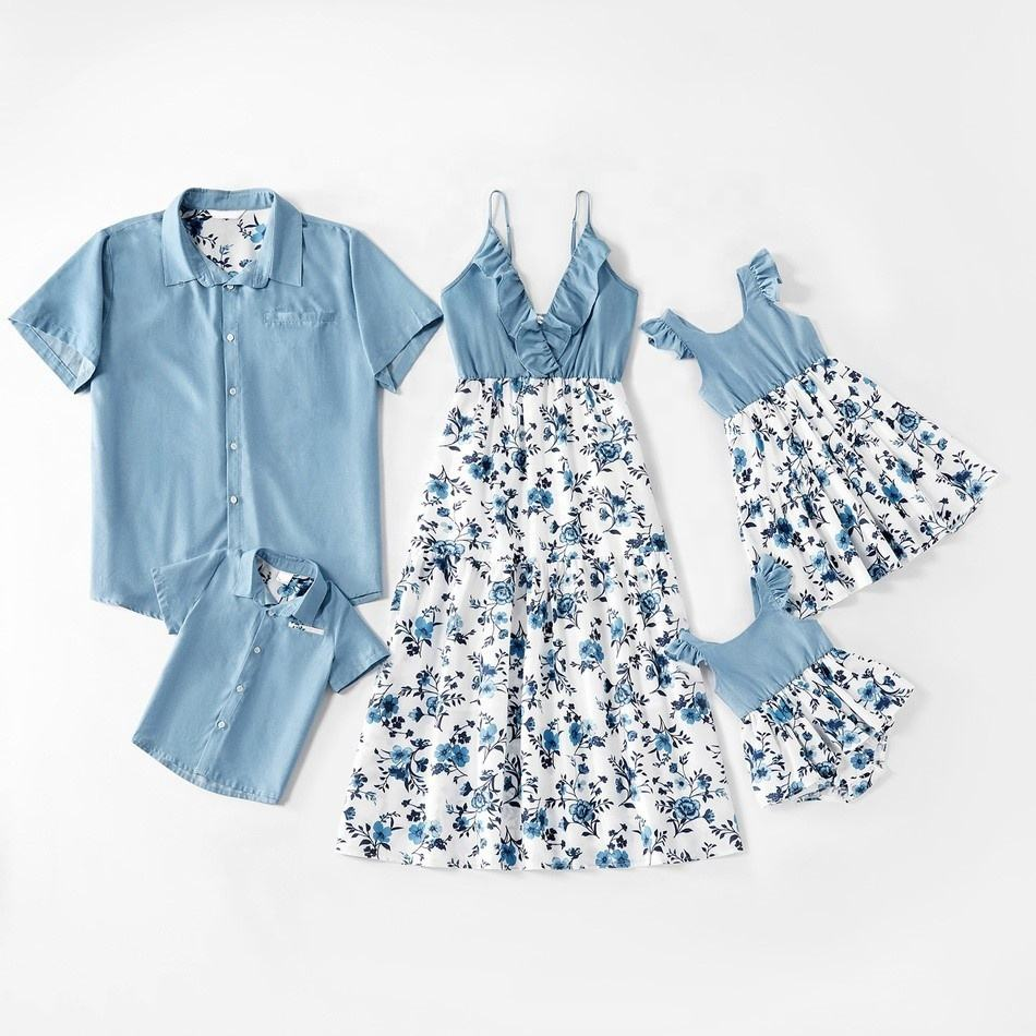 Family Matching 5-Piece Set Clothing Outfits clothes Mother Daughter Father Boys Girls Babies Romper Slip Floral Printed Dress
